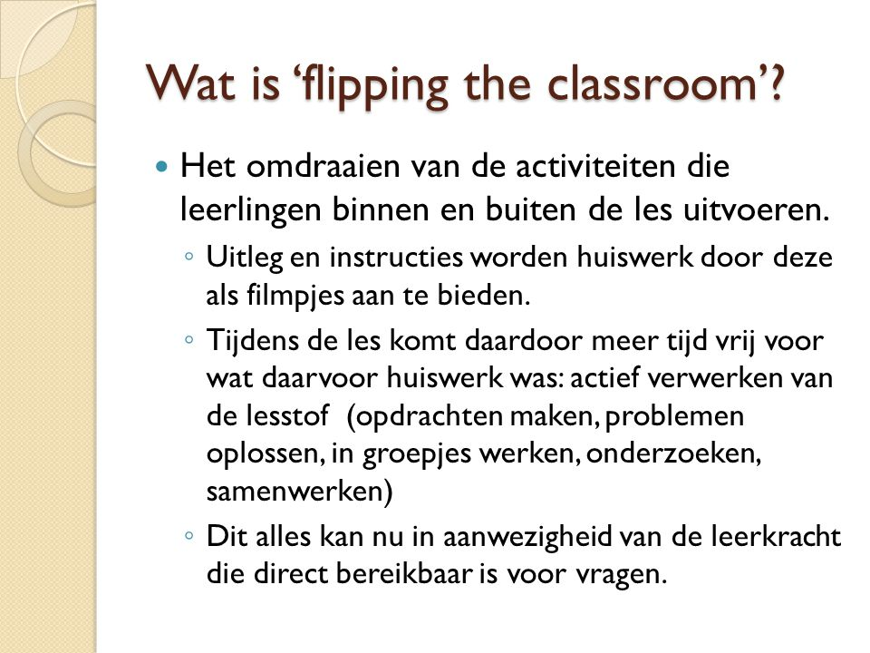 Wat is 'flipping the classroom'