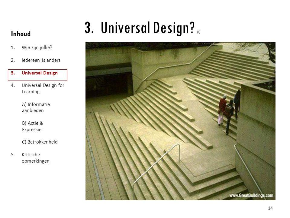 Universal Design (4) Inhoud Wie zijn jullie Iedereen is anders