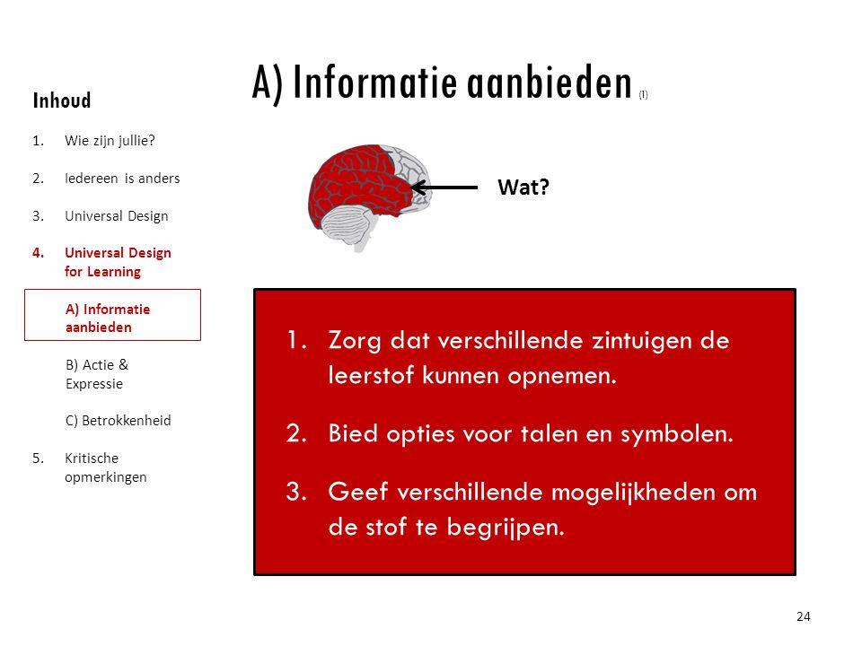 A) Informatie aanbieden (1)