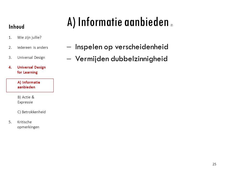 A) Informatie aanbieden (2)