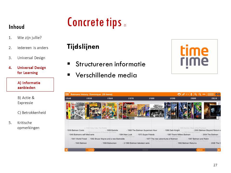 Concrete tips (2) Tijdslijnen Structureren informatie