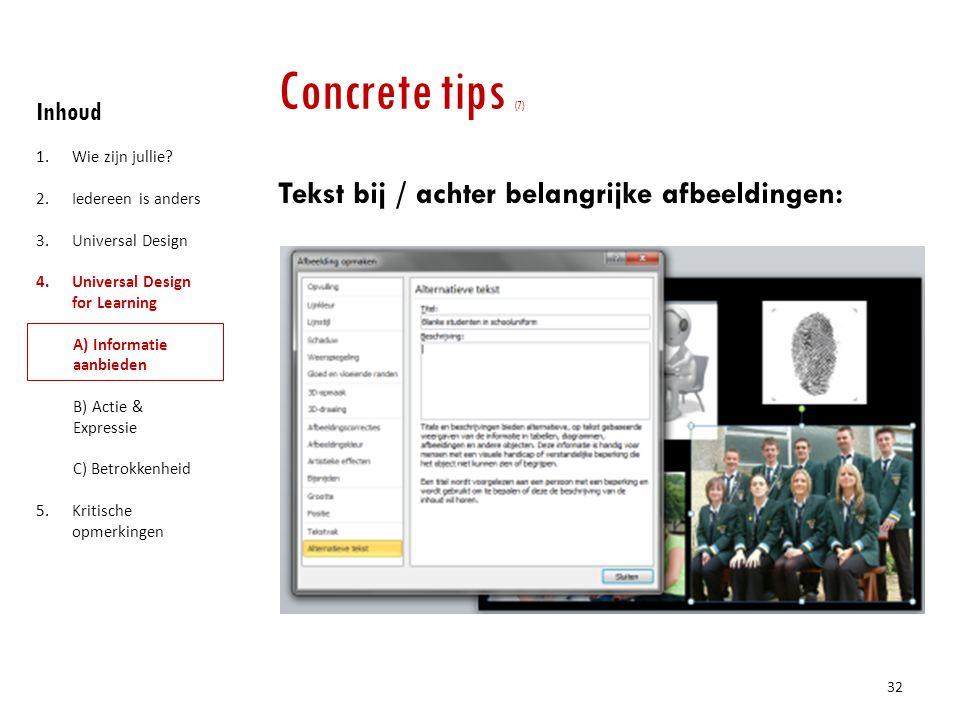 Concrete tips (7) Tekst bij / achter belangrijke afbeeldingen: Inhoud