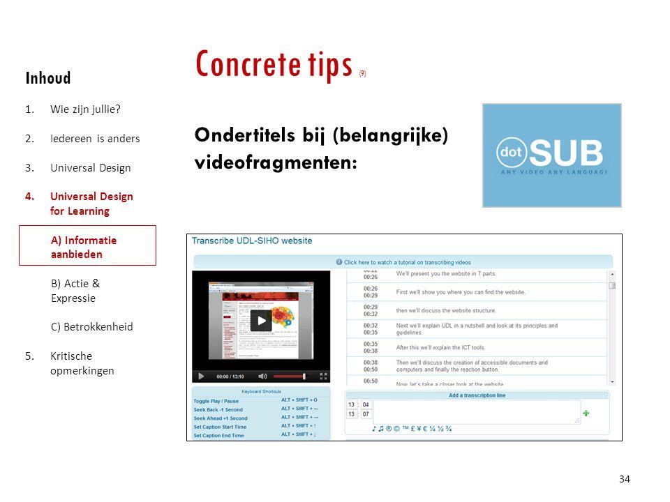 Concrete tips (9) Ondertitels bij (belangrijke) videofragmenten: