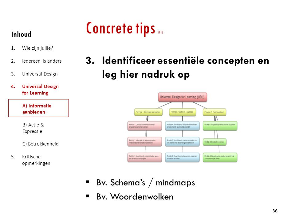 Concrete tips (11) Inhoud. Wie zijn jullie Iedereen is anders. Universal Design. Universal Design for Learning.