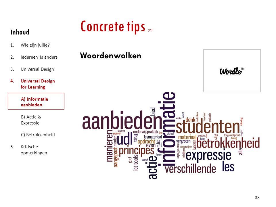 Concrete tips (13) Woordenwolken Inhoud Wie zijn jullie