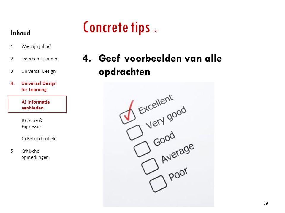 Concrete tips (14) Geef voorbeelden van alle opdrachten Inhoud