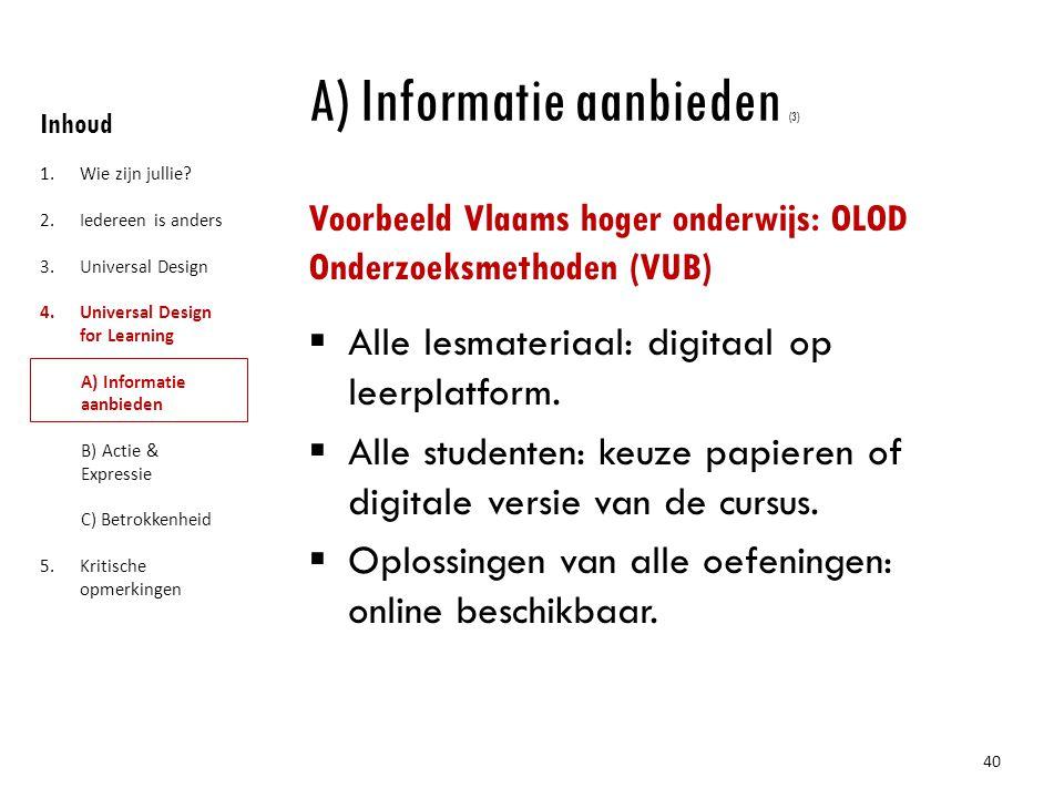 A) Informatie aanbieden (3)