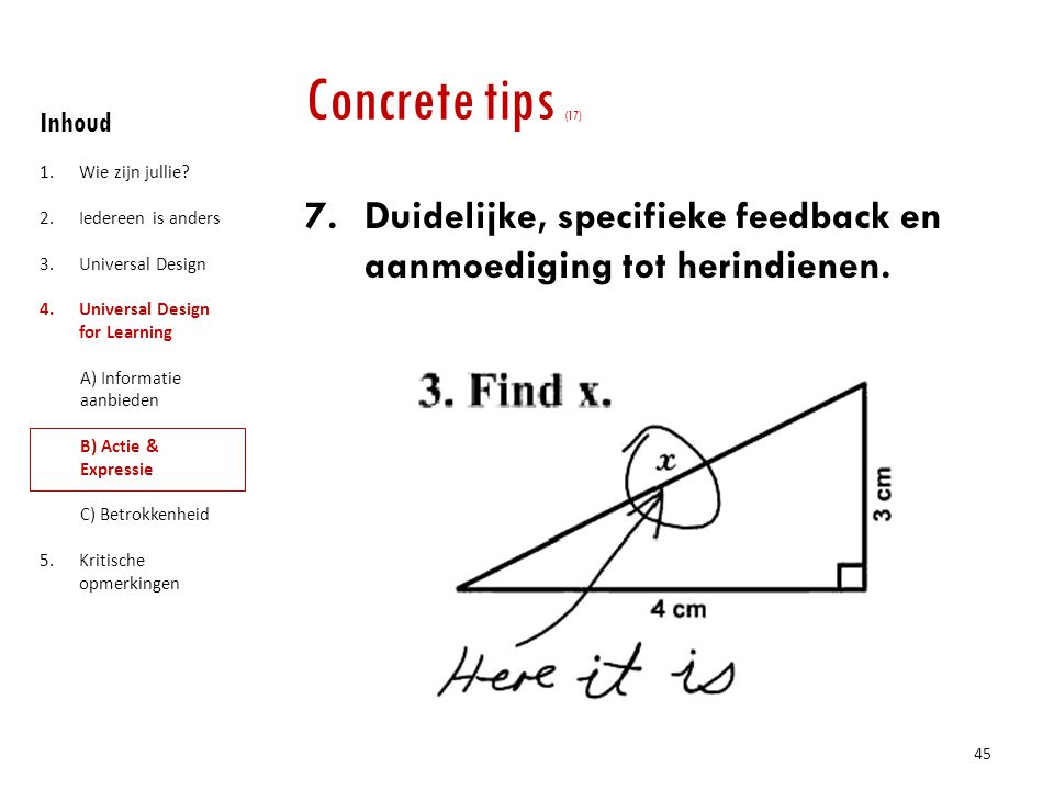 Concrete tips (17) Inhoud. Wie zijn jullie Iedereen is anders. Universal Design. Universal Design for Learning.