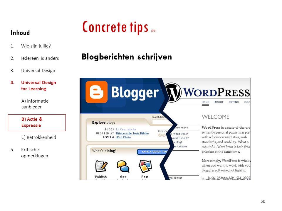 Concrete tips (20) Blogberichten schrijven Inhoud Wie zijn jullie