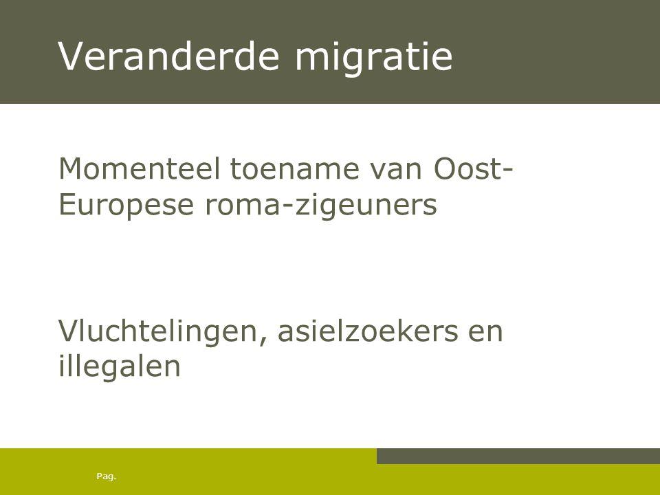 Veranderde migratie Momenteel toename van Oost-Europese roma-zigeuners