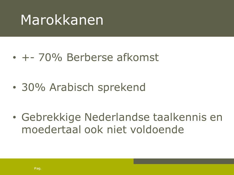 Marokkanen +- 70% Berberse afkomst 30% Arabisch sprekend