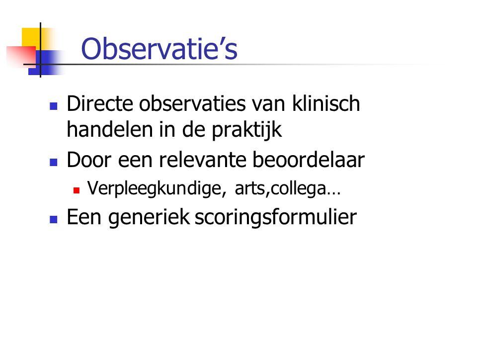 Observatie's Directe observaties van klinisch handelen in de praktijk