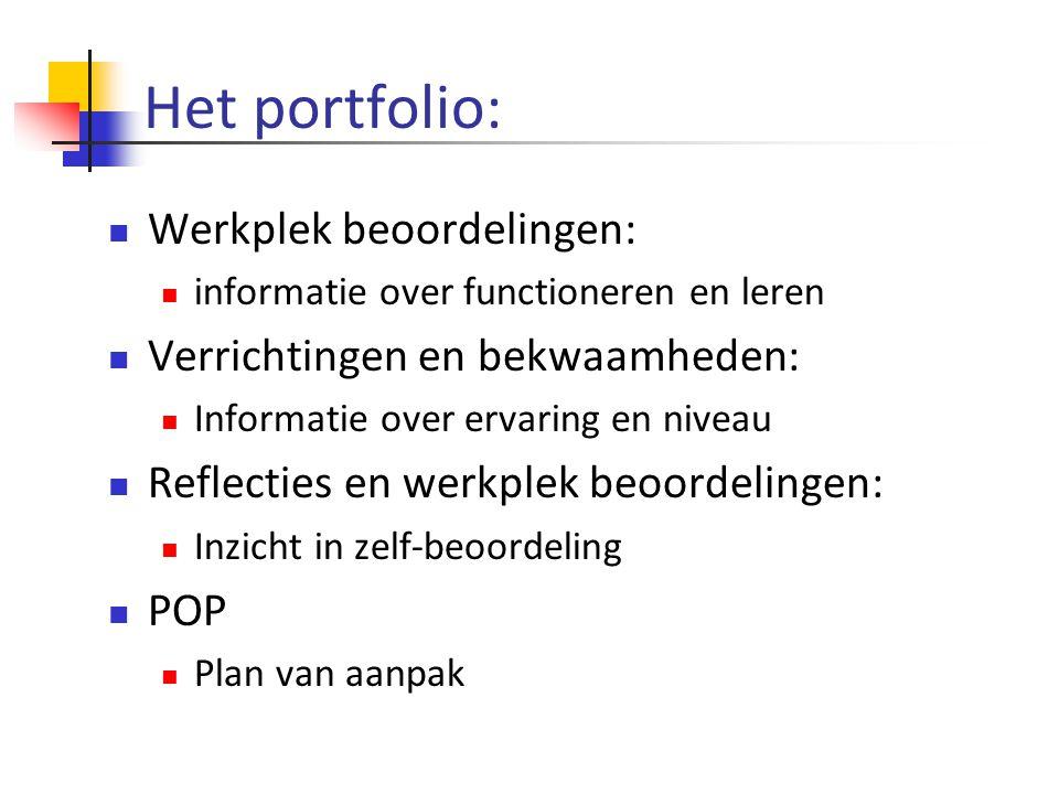 Het portfolio: Werkplek beoordelingen: Verrichtingen en bekwaamheden: