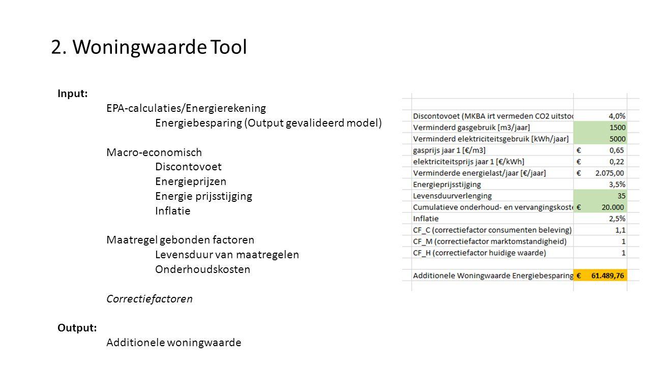 2. Woningwaarde Tool Input: EPA-calculaties/Energierekening