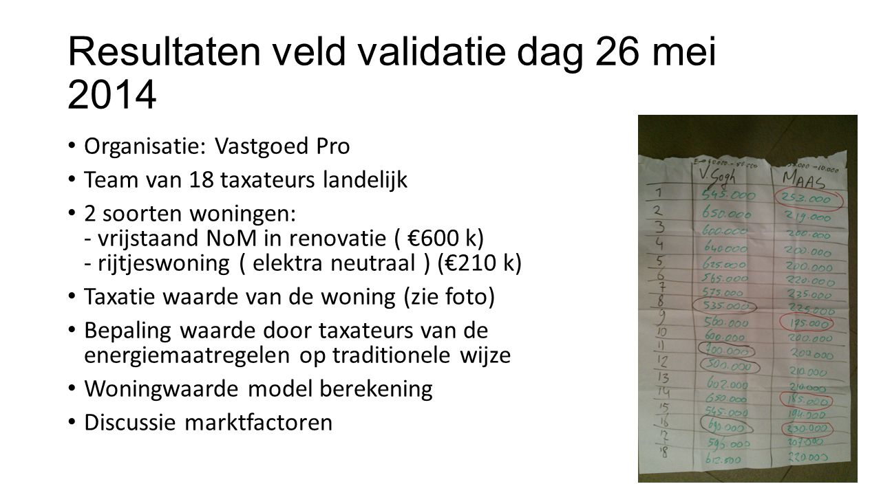 Resultaten veld validatie dag 26 mei 2014