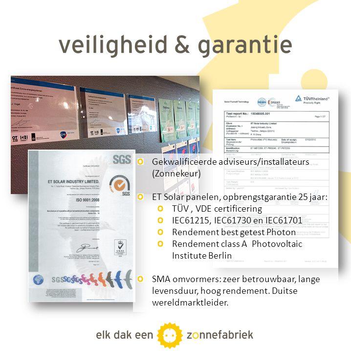 veiligheid & garantie Gekwalificeerde adviseurs/installateurs (Zonnekeur) ET Solar panelen, opbrengstgarantie 25 jaar: