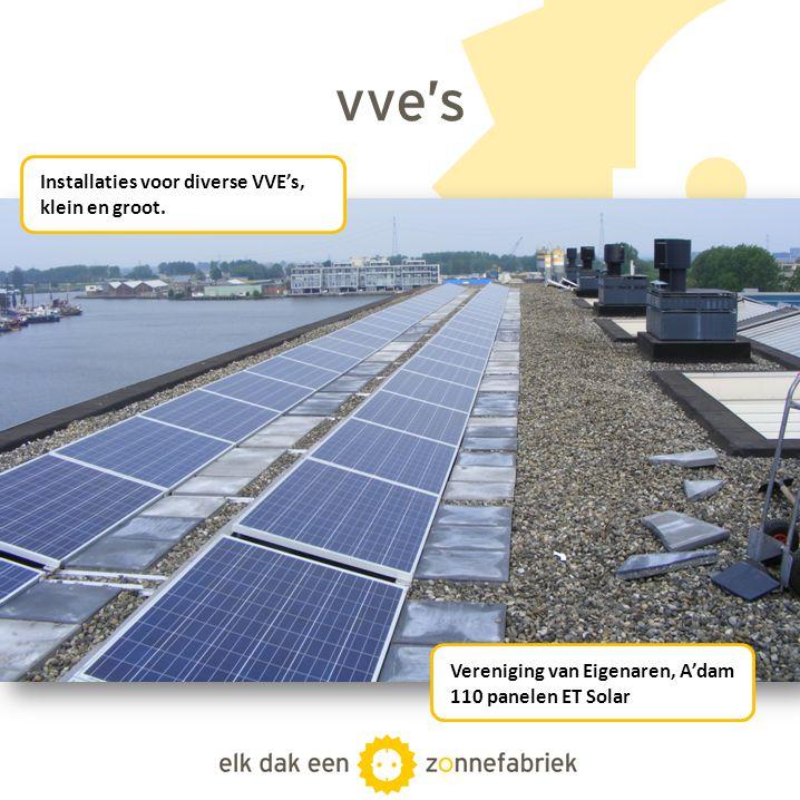 vve's Installaties voor diverse VVE's, klein en groot.