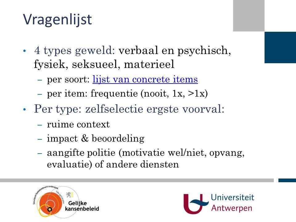 Vragenlijst 4 types geweld: verbaal en psychisch, fysiek, seksueel, materieel. per soort: lijst van concrete items.