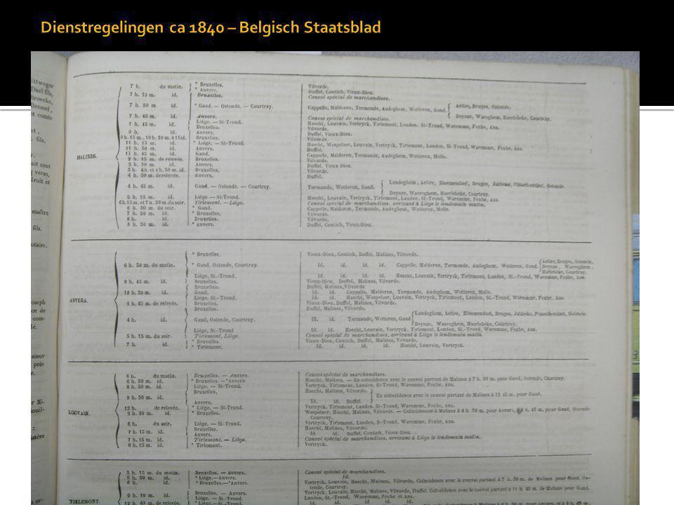 Dienstregelingen ca 1840 – Belgisch Staatsblad