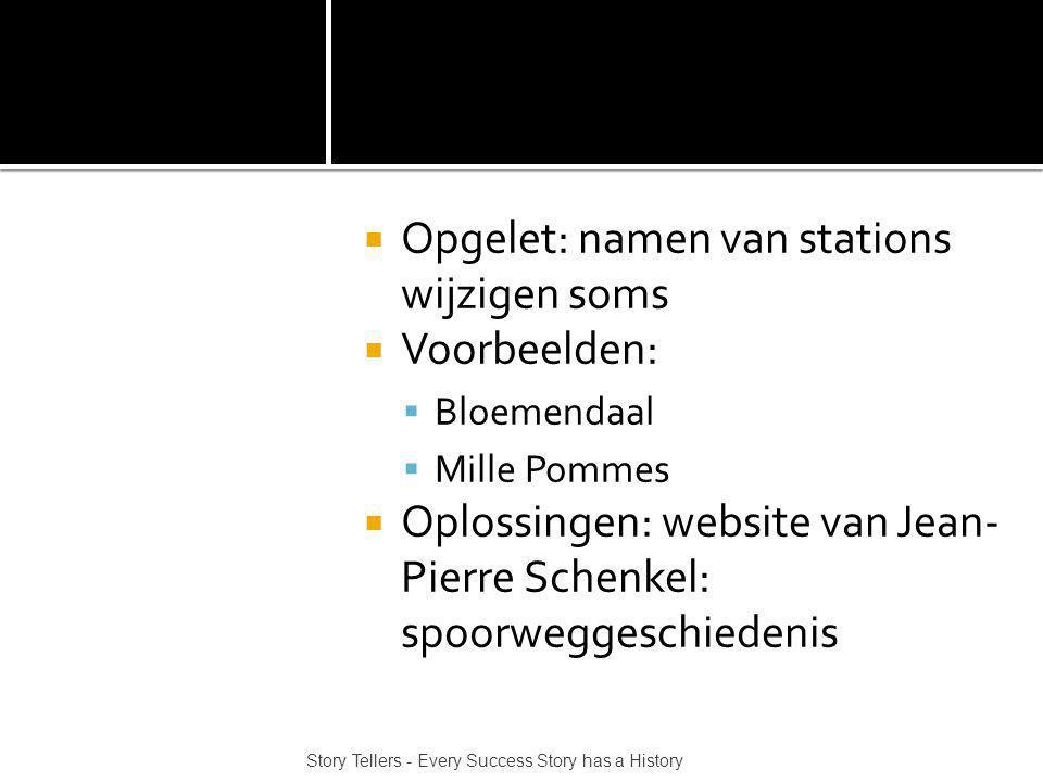 Opgelet: namen van stations wijzigen soms Voorbeelden: