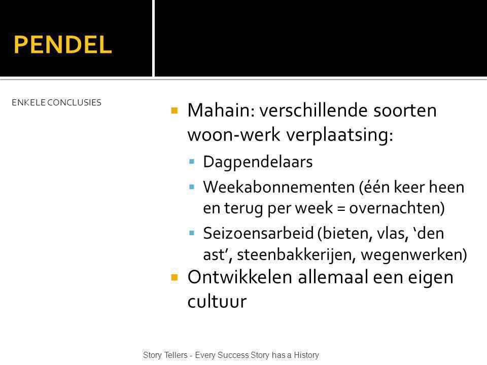 PENDEL Mahain: verschillende soorten woon-werk verplaatsing: