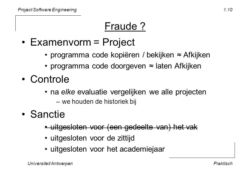 Fraude Examenvorm = Project Controle Sanctie