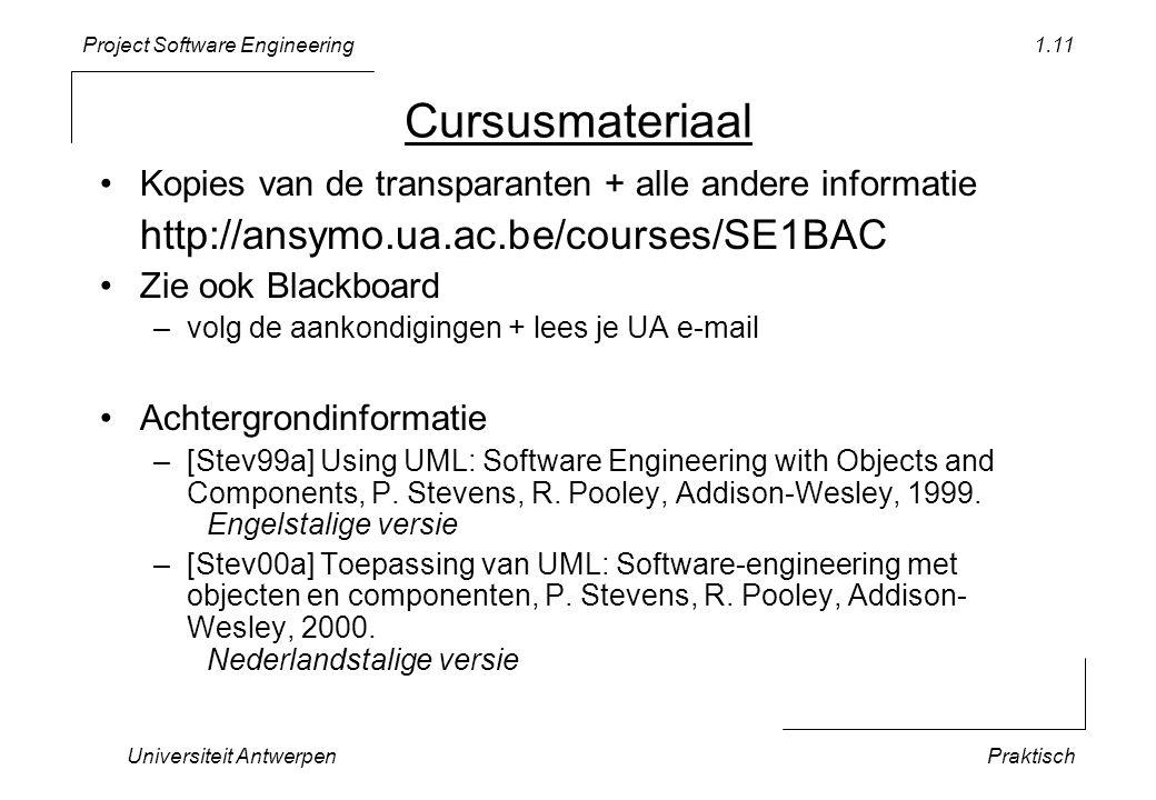 Cursusmateriaal Kopies van de transparanten + alle andere informatie