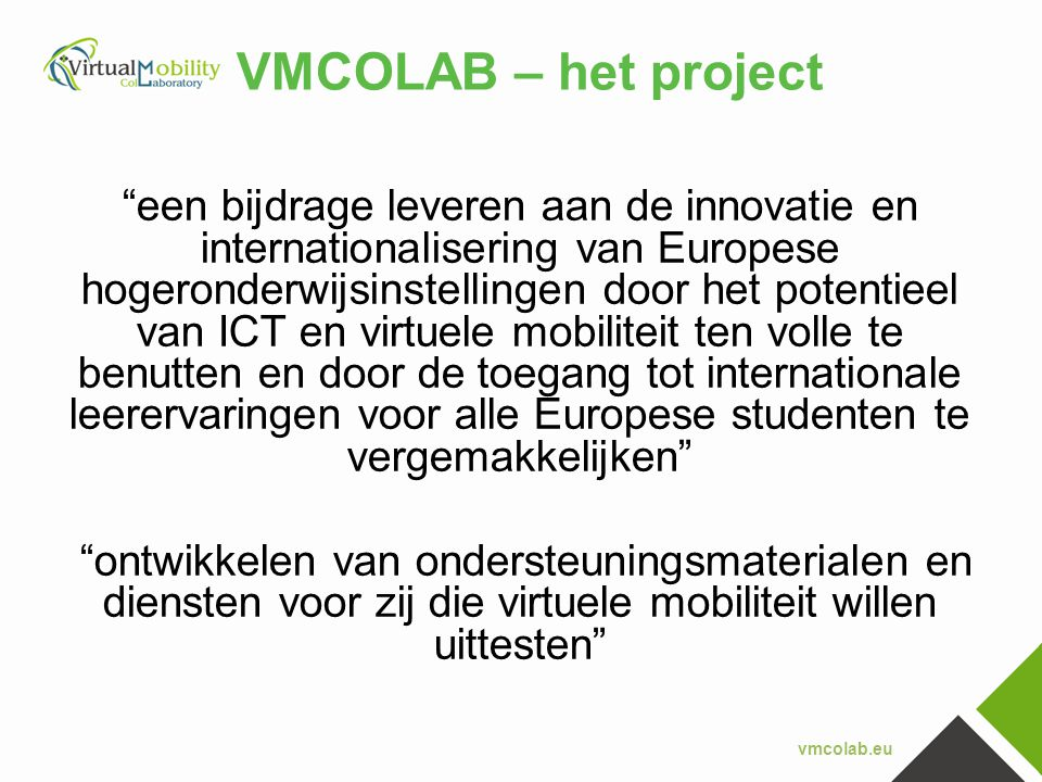 VMCOLAB – het project