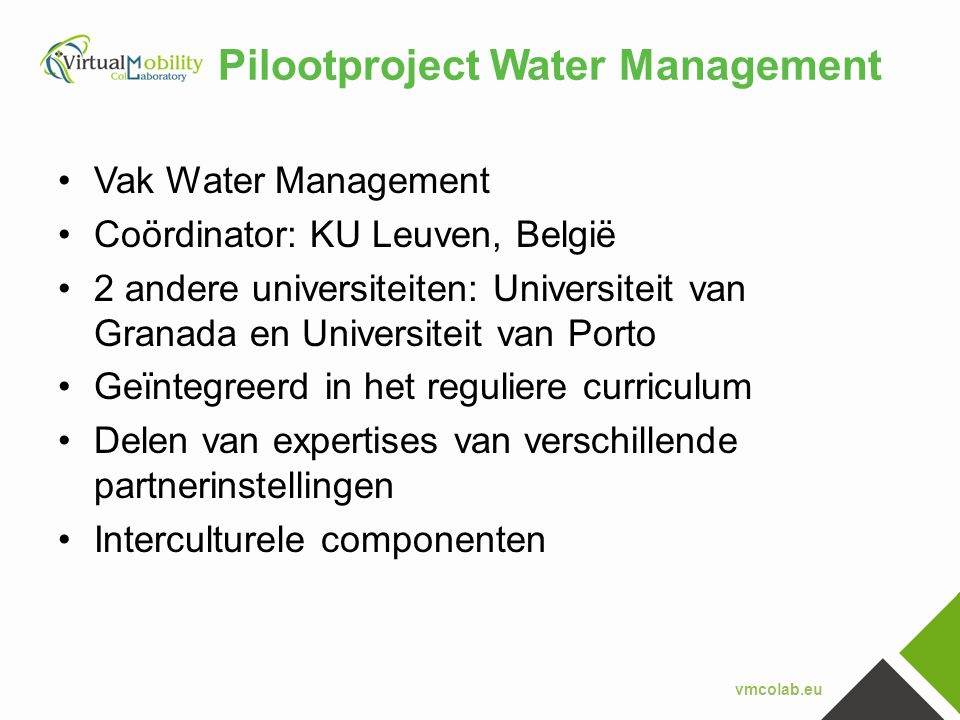 Pilootproject Water Management