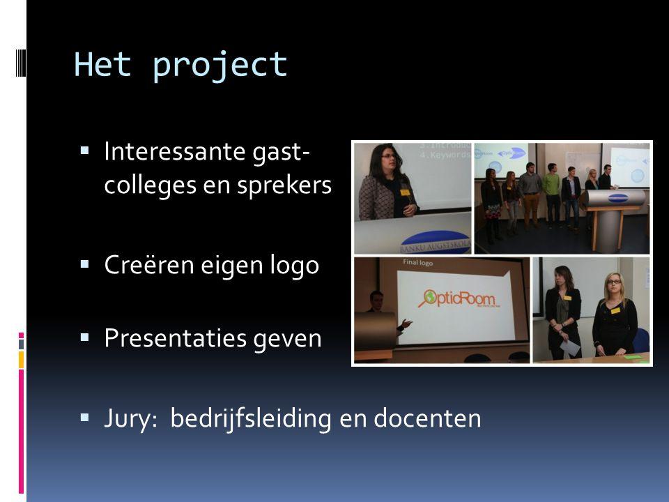 Het project Interessante gast- colleges en sprekers Creëren eigen logo