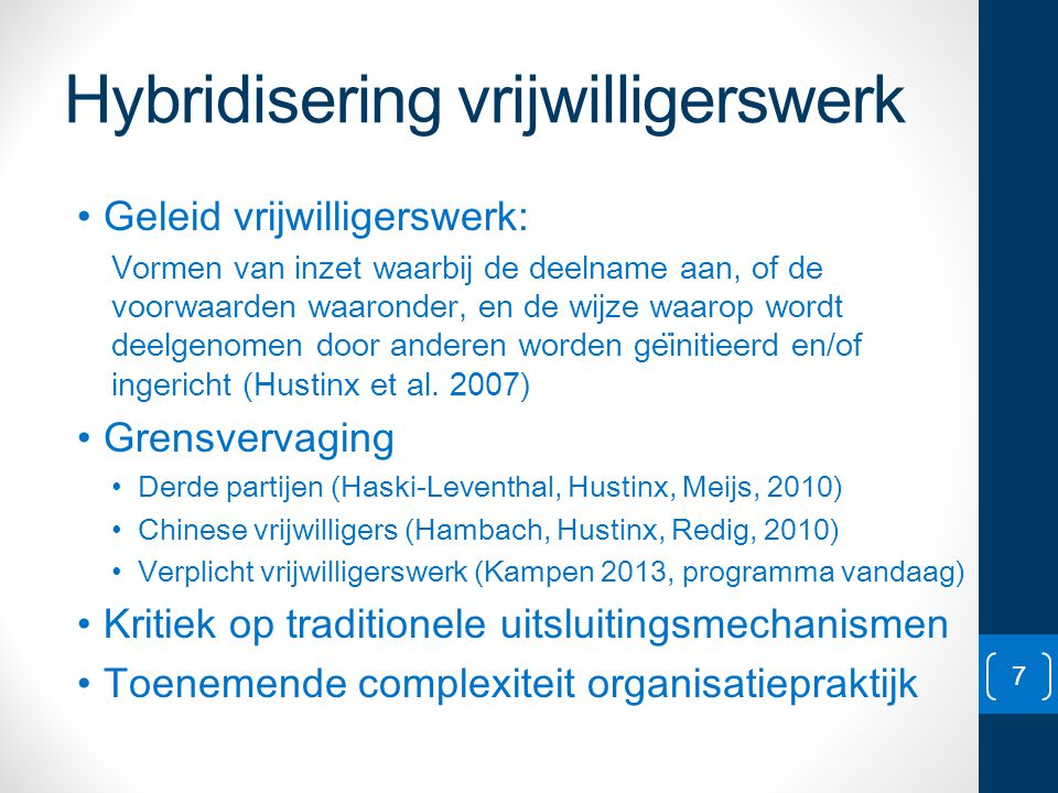 Hybridisering vrijwilligerswerk