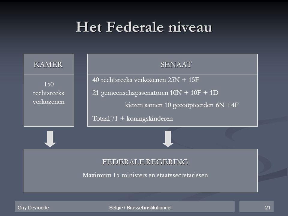 Het Federale niveau KAMER SENAAT FEDERALE REGERING
