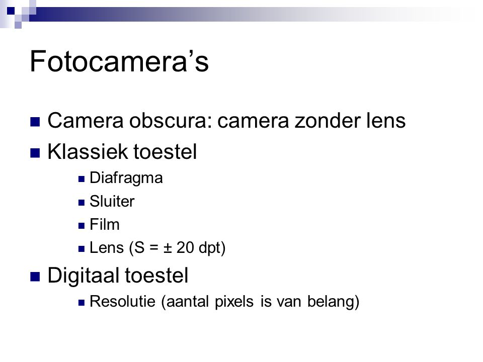 Fotocamera's Camera obscura: camera zonder lens Klassiek toestel