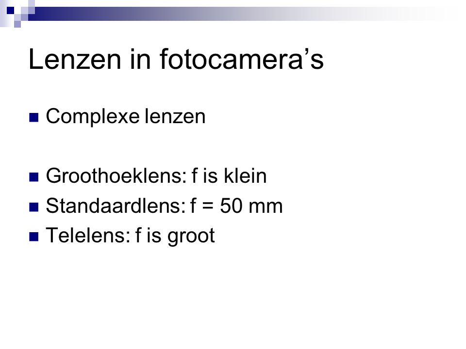 Lenzen in fotocamera's