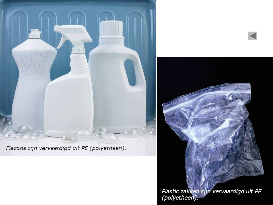 Flacons zijn vervaardigd uit PE (polyetheen).