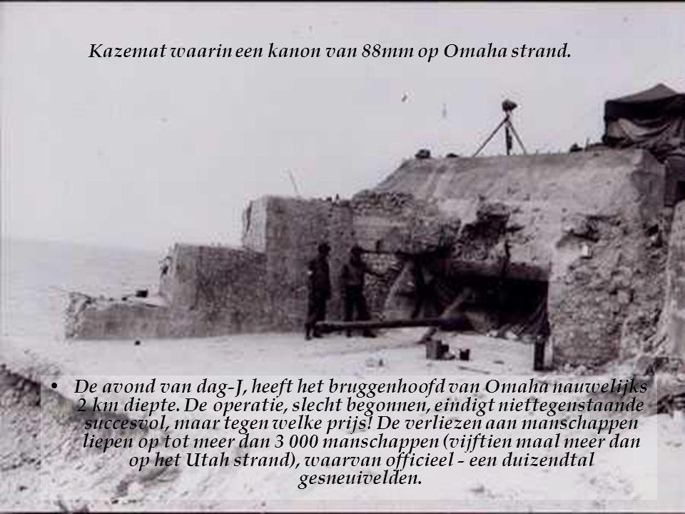 Kazemat waarin een kanon van 88mm op Omaha strand.