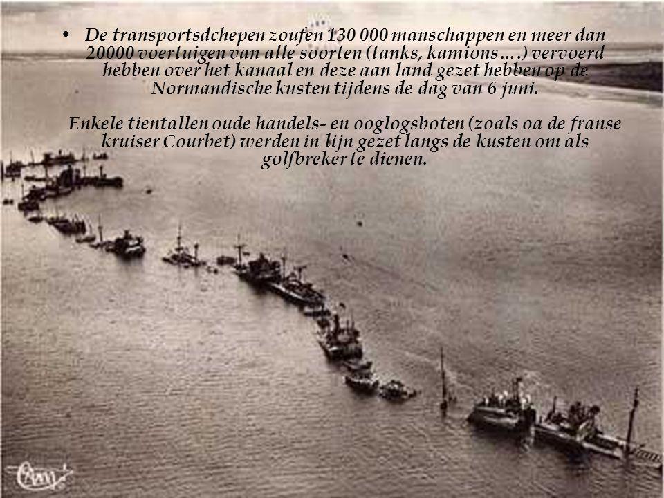 De transportsdchepen zoufen 130 000 manschappen en meer dan 20000 voertuigen van alle soorten (tanks, kamions….) vervoerd hebben over het kanaal en deze aan land gezet hebben op de Normandische kusten tijdens de dag van 6 juni.