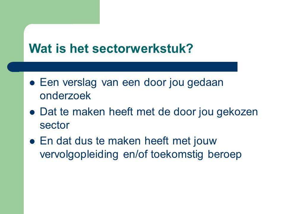 Wat is het sectorwerkstuk