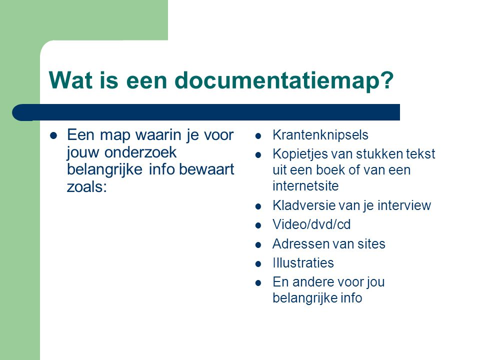 Wat is een documentatiemap