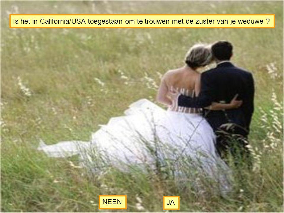 Is het in California/USA toegestaan om te trouwen met de zuster van je weduwe