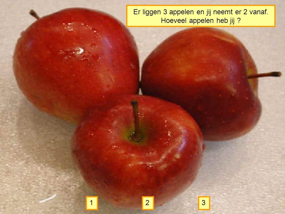 Er liggen 3 appelen en jij neemt er 2 vanaf. Hoeveel appelen heb jij