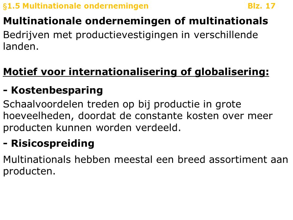 Multinationale ondernemingen of multinationals