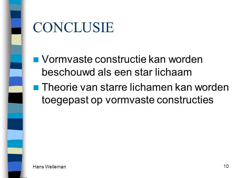 CONCLUSIE Vormvaste constructie kan worden beschouwd als een star lichaam.