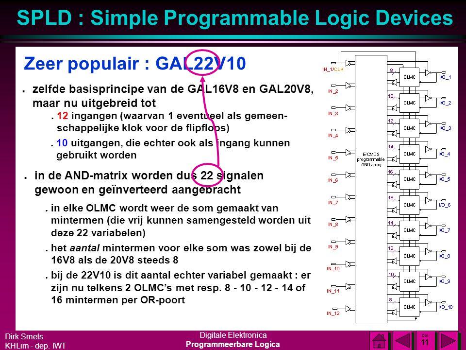 Zeer populair : GAL22V10 zelfde basisprincipe van de GAL16V8 en GAL20V8, maar nu uitgebreid tot.