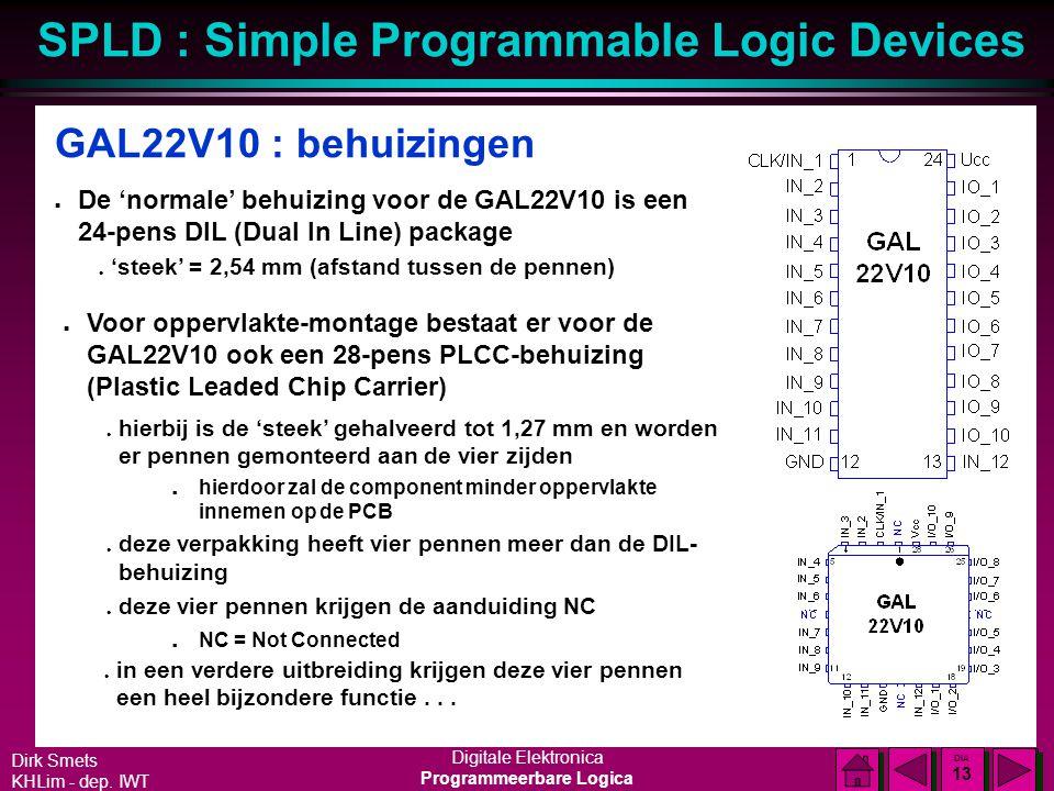 GAL22V10 : behuizingen De 'normale' behuizing voor de GAL22V10 is een 24-pens DIL (Dual In Line) package.