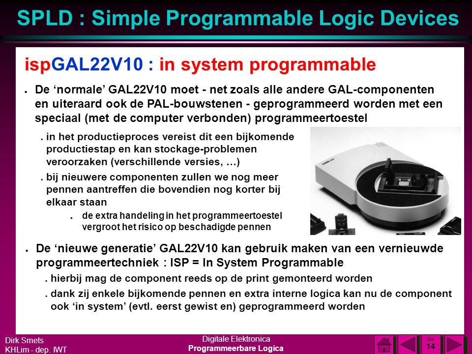 ispGAL22V10 : in system programmable