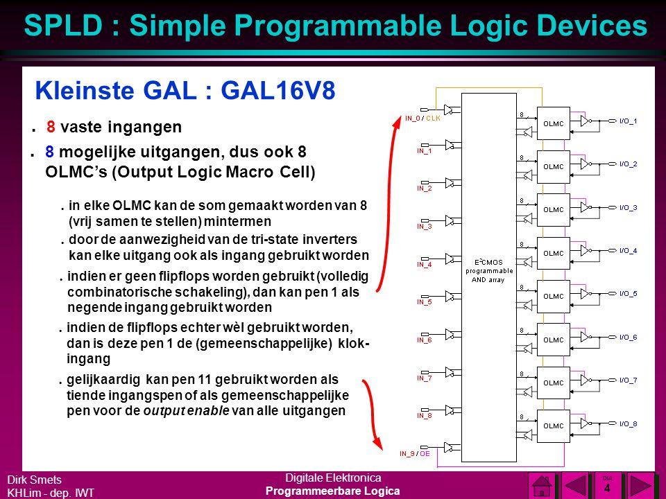 Kleinste GAL : GAL16V8 8 vaste ingangen