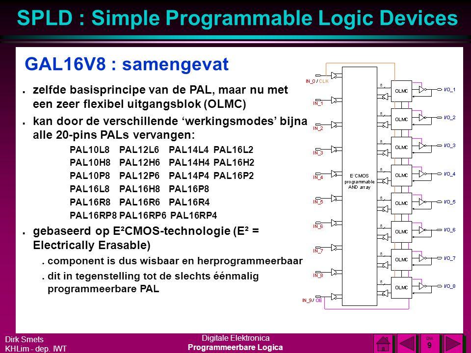GAL16V8 : samengevat zelfde basisprincipe van de PAL, maar nu met een zeer flexibel uitgangsblok (OLMC)