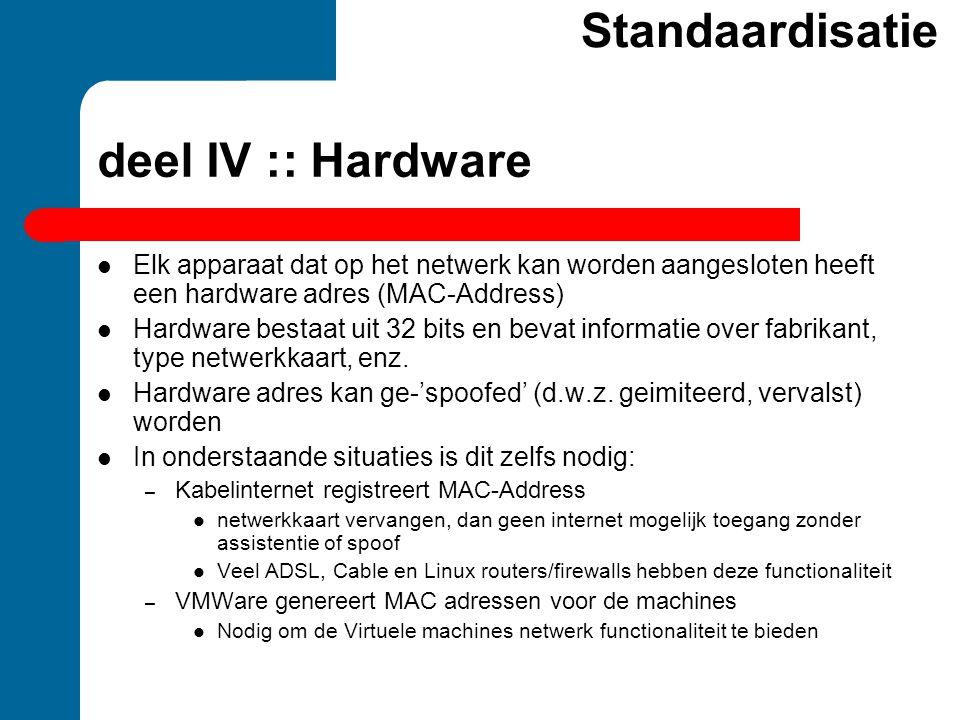Standaardisatie deel IV :: Hardware