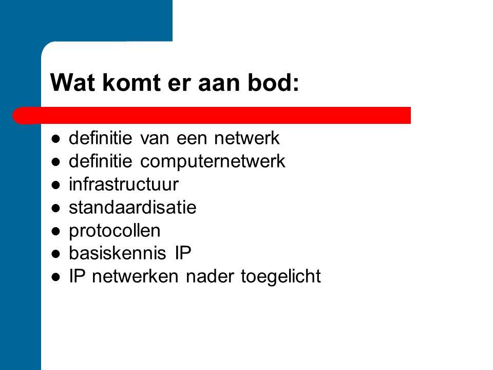 Wat komt er aan bod: definitie van een netwerk